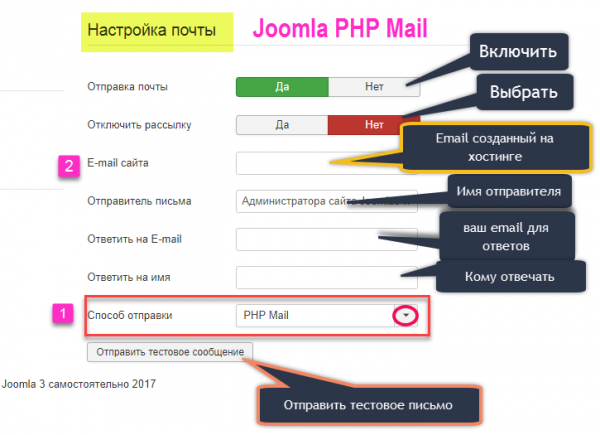 настройка php mail screen