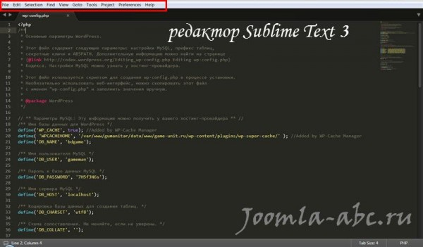 Sublime Text окно редактора